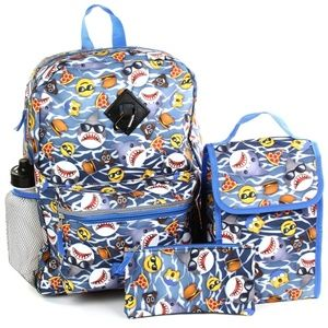 Boys' Sharks & Fast Food 5 Piece Backpack. Blue